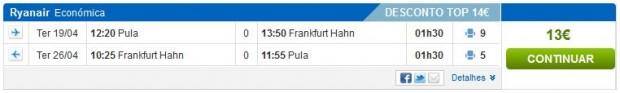Pula >> Frankfurt (Hahn) >> Pula
