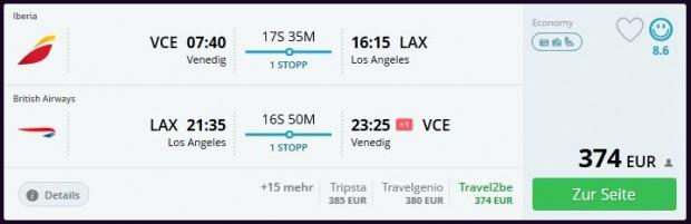 Venecija >> Los Angeles >> Venecija, bez promjene aerodroma u Londonu