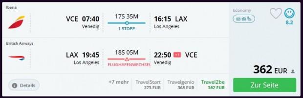 Venecija >> Los Angeles >> Venecija, s promjenom aerodroma u Londonu