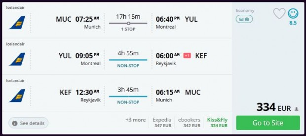 Minhen >> Montreal >> Reykjavik >> Minhen