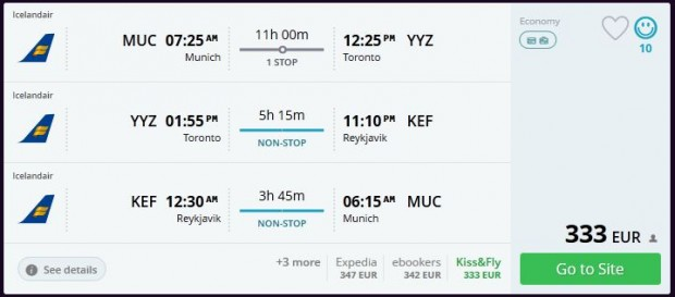 Minhen >> Toronto >> Reykjavik >> Minhen