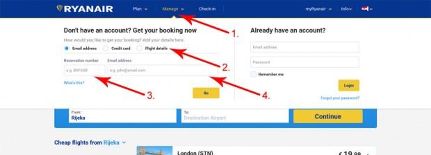 Manage dio na Ryanair stranicama