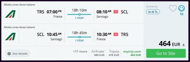Trst >> Santiago de Chile >> Trst, na momondo.com stranicama