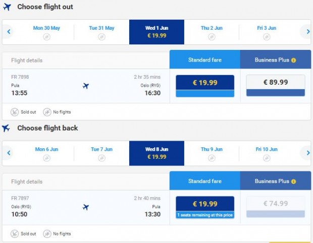 Pula >> Oslo >> Pula, na Ryanair stranicama