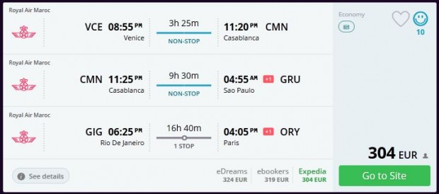 Venecija >> Casablanca >> Sao Paulo -- Rio de Janeiro >> Pariz