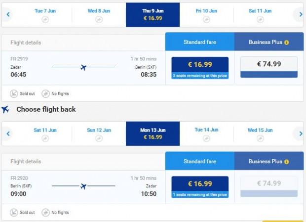 Zadar >> Berlin >> Zadar, na Ryanair stranicama