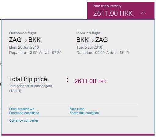 Zagreb >> Bangkok >> Zagreb,na Qatar Airways stranicama