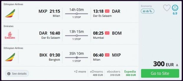 Milano >> Dar es Salaam >> Mumbai -- Bangkok >> Milano