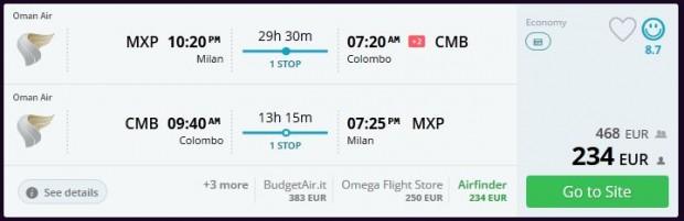 Milano >> Colombo >> Milano