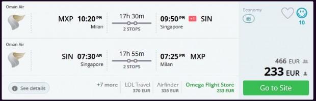 Milano >> Singapur >> Milano