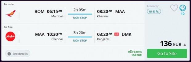 Mumbai >> Chennai >> Bangkok