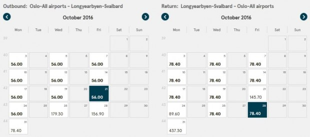 Oslo >> Longyearbyen (Svalbard) >> Oslo, na Norwegian stranicama