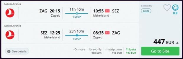 Zagreb >> Mahe (Sejšeli) >> Zagreb