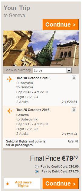 Dubrovnik >> Ženeva >> Dubrovnik, direktno na Easyjet stranicama