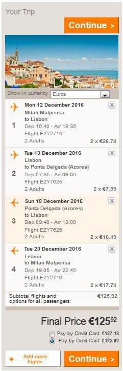 Milano >> Lisabon >> Ponta Delgada >> Lisabon >> Milano, cijena za 2 osobe
