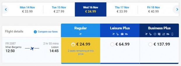 Milano (Bergamo) >> Lisabon, na Ryanair stranicama