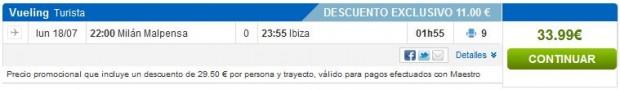 Milano (Malpensa) >> Ibiza, kratki layover