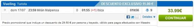 Milano (Malpensa) >> Ibiza, layover 28h na Ibizi