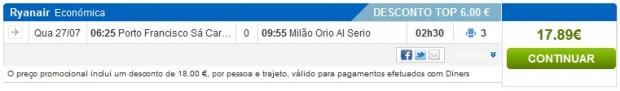 Porto >> Milano (Bergamo)