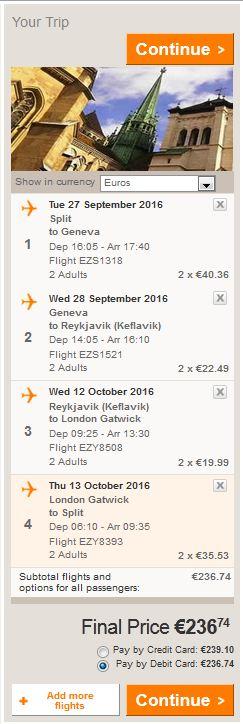 Split >> Ženeva >> Reykjavik >> London >> Split, direktno na Easyjet stranicama