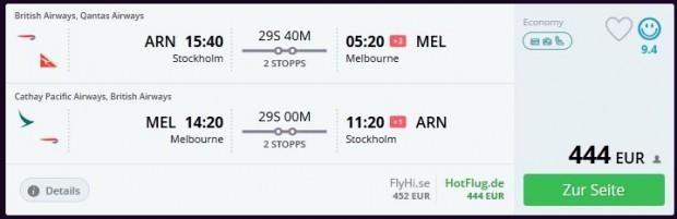 Štokholm >> Melbourne >> Štokholm