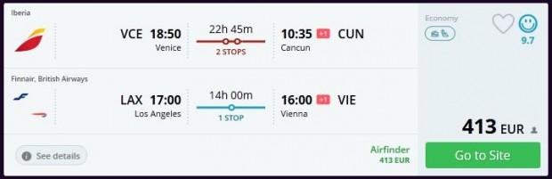 Venecija >> Cancun -- Los Angeles >> Beč