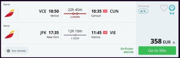 Venecija >> Cancun -- New York >> Beč