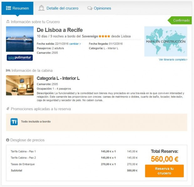 Lisabon (Portugal) >> Recife (Brazil)