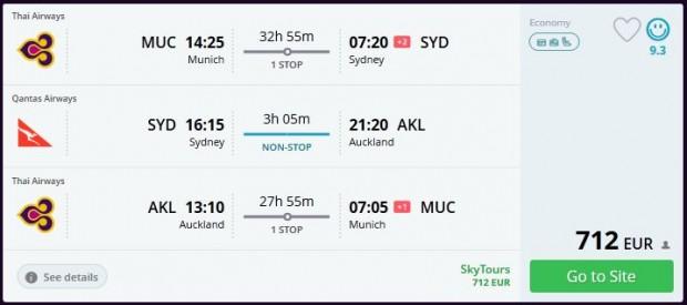 Minhen >> Sydney >> Auckland >> Minhen