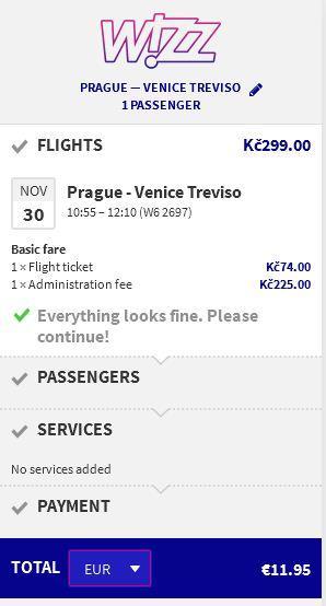 Prag >> Venecija, direktno na Wizzair stranicama