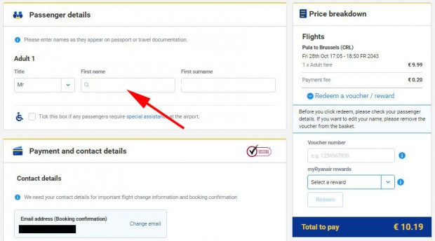 My Ryanair signup - kupovina karte