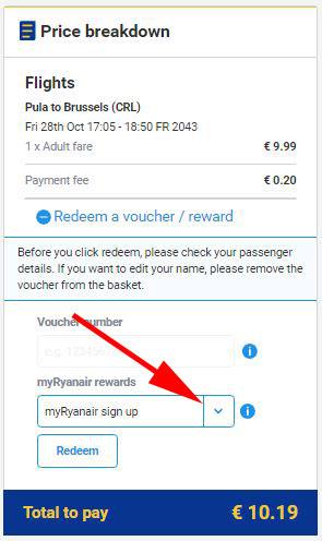 My Ryanair signup - upotrijebite vaučer