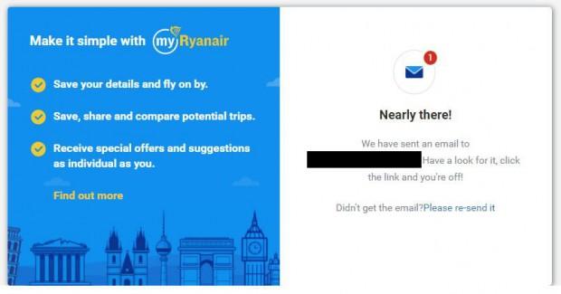 My Ryanair signup - potvrdite svoju email adresu