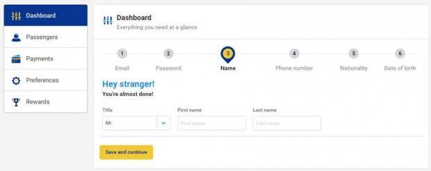 My Ryanair signup - unesite ime i prezime
