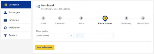 My Ryanair signup - unesite državu i broj telefona