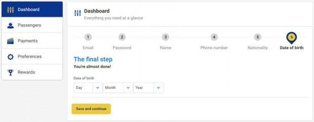 My Ryanair signup - odaberite datum rođenja