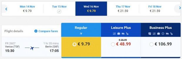 Venecija >> Berlin, direktno na Ryanair stranicama