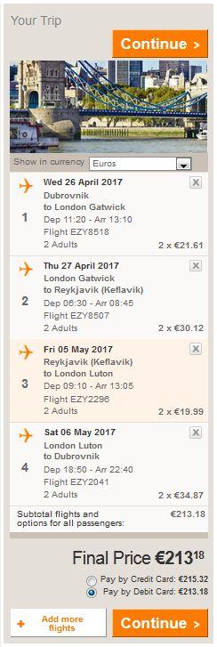 Dubrovnik >> London >> Reykjavik >> London >> Dubrovnik