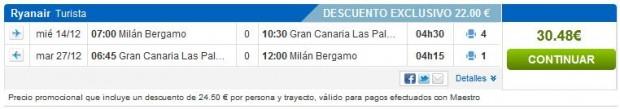 Milano (Bergamo) >> Gran Canaria >> Milano (Bergamo)