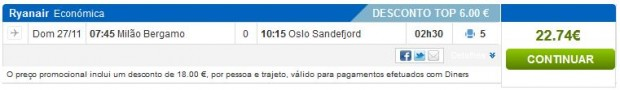 Milano >> Oslo, rumbo.pt s Diners karticom