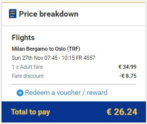 Milano >> Oslo, Ryanair