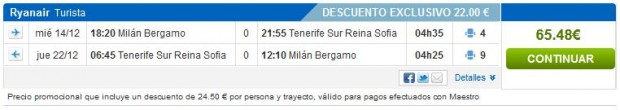 Milano (Bergamo) >> Tenerife >> Milano (Bergamo)