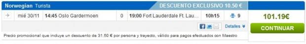Oslo >> Fort Lauderdale, rumbo.es s Maestro karticom