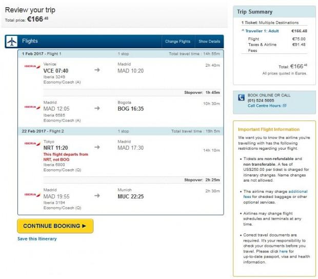 Venecija >> Bogota + Tokio >> Minhen, kupovina na Expedia stranicama