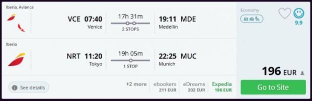 Venecija >> Medelin ili Cartagena + Tokio >> Minhen