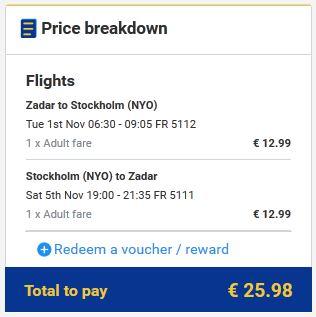 Zadar >> Štokholm >> Zadar, na Ryanair stranicama