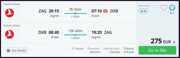 Zagreb >> Dubai >> Zagreb