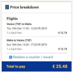 Venecija (Treviso) >> Malta >> Venecija (Treviso)