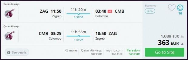 Zagreb >> Colombo >> Zagreb