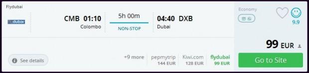 Colombo (Šri Lanka) >> Dubai